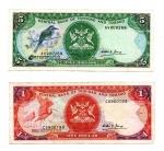 obverse: TRINIDAD E TOBAGO. Lotto 02 Banconote. 5 e 1 Dollari. 2006 e 1985.