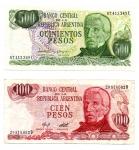obverse: ARGENTINA. Lotto 02 Banconote. 500 e 100 Pesos.1980 – 1985.