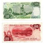 reverse: ARGENTINA. Lotto 02 Banconote. 500 e 100 Pesos.1980 – 1985.