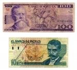 obverse: MESSICO. Lotto 02 Banconote. 100 e 10 Pesos. 1981 – 1992.