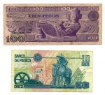reverse: MESSICO. Lotto 02 Banconote. 100 e 10 Pesos. 1981 – 1992.