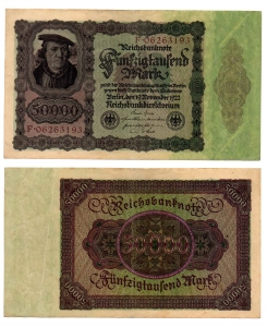 obverse: GERMANIA. 50.000 Marchi. 1922. FDS.