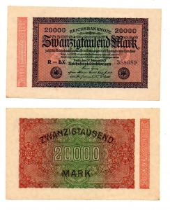 obverse: GERMANIA. 20.000 Marchi. 1923. FDS.