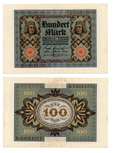 obverse: GERMANIA. 100 Marchi. 1920. FDS.