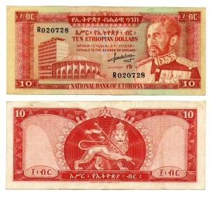obverse: ETIOPIA. 10 Dollari. 1966. FDS.
