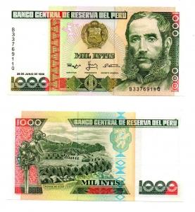 obverse: PERU'. 1000 Intis. 1988. FDS.