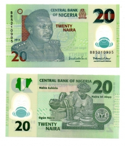 obverse: NIGERIA. 20 Naira. 2014. FDS.