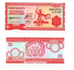 obverse: BURUNDI. 20 Franchi. 2005. FDS.
