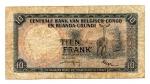 reverse: CONGO BELGA. Dix Francs - Tien francs 1956. Circolata ma rara!
