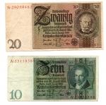 obverse: GERMANIA. Lot 02 banconote. 20e 10 Reichmark del 1929. vedi foto per dettagli.