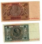reverse: GERMANIA. Lot 02 banconote. 20e 10 Reichmark del 1929. vedi foto per dettagli.