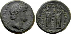 obverse: NERONE (54-68). PHRYGIA. Laodicea ad Lycum. AE (12,56 gr. - 25 mm.). D.\: NEPΩN ΣEBAΣTOΣ. Laureate head right. R.\: ANTΩ ZHNΩNOΣ ZHNΩN YIOΣ ΛAOΔIKEΩN ZMYPNAIΩN / OMHPOΣ. The Demoi of Laodicea and Smyrna clasping hands. RPC I 2928. qBB. R1
