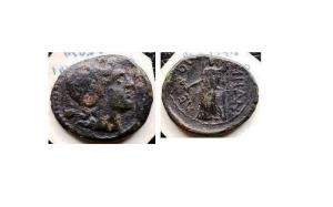 obverse: Sicilia. LEONTINOI (After 212 a.C.). AE 21/19 (g 5,7). D.\: Laureate head of Apollo, granchio dietro la testa; R.\: ?E-ON-TINON - Demeter velata, in piedi con uno scettro e papavero. CNS III p.86 N.21. MB. R1