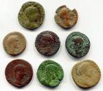 D/ Antiche G. Impero Romano. Lotto di 03 assi alto impero più 05 monete da studio! per un totale di 08 bronzi. Interessante.  1.) OTTAVIANO (43 a.C. - 14) - AE Asse - 10,01 gr. [Gatto IX, 1933] - MB / R1.   2.) AUGUSTO (+14) - AE Asse - 9,97 gr. [coniato nel 5 a.C., largo modulo] - MB / R1.  3.) TIBERIO (+36) - AE Asse - 9,23 gr. [Globo e Tim.] - MB / R1. A questi 3 assi aggiungiamo 03 sesterzi e 2 dupondi da studio (uno di Antonino Pio ha il retro raro: Elefante.) Monete provenienti da vecchia collezione privata (naturalmente registrate in modo regolare sui nostri appositi registri), alcune di queste sono accompagnate dai cartellini originali scritti a mano dal collezionista.