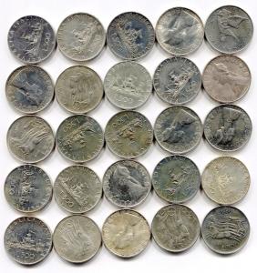 D/ Italia. Lotto 25 pz. da Lire 500 argento: Caravelle, Centenario. Conservazioni più che gradevoli!