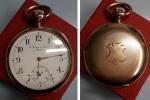 """obverse: Orologio da Tasca primi '900 """"L. fernier Et Freres A Besancon"""", in oro AU (71,60 gr. – 49 mm.). Meccanico (15 rubini), funzionante, cassa al retro lavorata. Davvero molto affascinante."""
