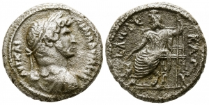 obverse: Adriano (117-138). Egypt. Alexandria. Dated RY 12=AD 127/128. Billon-Tetradrachm (23mm. - 12,53gr.). D.\: Laureate, draped, and cuirassed bust right. R.\: Sarapis enthroned left, holding scepter, at his feet, Kerberos seated left, L Δω∆Є KAT (date) around. Dattari 1476; RPC III 5714. BB. R.