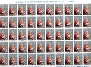 D/ Pagina/Foglio con 25 pz. L. 200 1981. Giovanni XXIII.