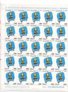 D/ Pagina/Foglio con 25 pz. L. 1.000 del 1982. Italia Campione del Mondo.