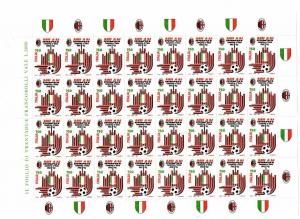 D/ Pagina/Foglio con 32 pz. L. 750 del 1992. Scudetto Milan.