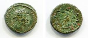 obverse: Marco Aurelio (161-180). Serdica. AE (19 mm. - 3,32 gr.). D.\: profilo Marco Aurelio. R.\: Artemide con arco che prende freccia da faretra. BB+. NC.