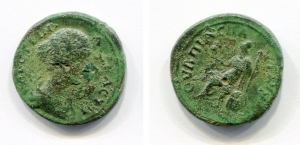 obverse: Faustina II (175). Pautalia. AE (22 mm. - 6,01gr.). D.\: Busto di Faustina II. R.\: Athena seduta con gufo e lancia, scudo dietro. qBB. NC. Ottima la patina verde.