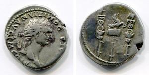 obverse: DOMIZIANO (81-96). Ionia, Ephesus, circa 82. AR Cistophorus (10,84 gr. - 26 mm.). D.\: IMP CAES DOMITIAN AVG P M COS VIII, testa laureata a destra dell'imperatore. R.\: Aquila tra insegne militari. RIC II, 843. RPC 865. qBB. R.