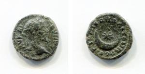 obverse: Septimius Severus (193-211), Moesia. Nikopolis ad Istrum. AE Bronze (2,42 gr. – 16 mm.). D.\: AV KAI CE CEVHPOC, laureate head right; R.\: NIKOΠOΛITΩN ΠΡOC ICTΡΟ, star in crescent moon. BMC Thrace 17. BB. NC.