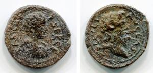obverse: Geta (209-212), Macedonia, Cassandreia. AE (4,58 gr. - 18 mm.). D.\: P CEP GETAS CAE. Bare headed, draped and cuirassed bust right. R.\: COL IVLIA AVG CASS. Head of Jupiter Ammon right. Varbanov 3369 var. BB. R.