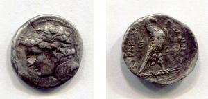 obverse: Sicilia. SIRACUSAE (218-214 a. C.), Gerone, figlio di Hierone II. AR Dracma (3,01 gr.), d.\: testa di Gerone a sinistra; r.\: ΣYPAKOΣIΩN ΓEΛΩNOΣ – E – BA, aquila con ali chiuse verso destra; SNG ANS 898. qSPL. Solco al retro. RR