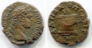 obverse: CARACALLA (197-217), BITHYNIA, Nicaea Æ (17,5mm - 3,30gr). D.\: laureate head right. R.\: Serpent emerging from cista mysitca. RG 442-3 var. qBB. R1.