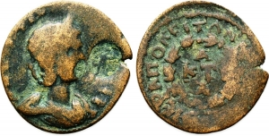 obverse: ANNIA FAUSTINA (221), Phrygia, Hierapolis. AE 24 (5,77 gr.). D.\: ANNIA ΦAVCTЄINA CЄB - Draped bust right, wearing stephane. c/m: uncertain. R.\: ЄPAΠOΛЄITΩN NЄΩΚOPΩΝ / A / KTI / A in three lines within wreath. SNG München 245; BMC 148. For c/m: cf. Howgego 278. MB. R4.