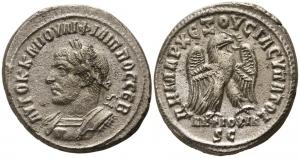 obverse: Filippo I (244-249). Syria, Antiochia . Ar Tetradramma (10,76 gr. - 28 mm.). D.\: AYTOK K M IOYΛI ΦIΛIΠΠOC CEB, radiate, draped and cuirassed bust right, seen from behind . R.\: ΔHMARX EΞOYCIAC YΠATO Δ, eagle standing left holding wreath, ANTIOCHIA S C. Prieur 424-48. qSPL. NC