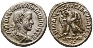 obverse: Filippo II (247-249), Siria, Antiochia. AR Tetradramma (28 mm. - 12,6 gr.). R.\: aquila con ali aperte. Prieur 492. qSPL. NC.