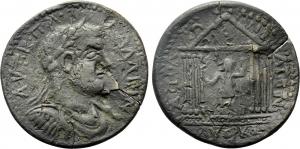 obverse: Gallienus (253-268). Pisidia. Apollonia Mordiaeum. AE (21,50 gr. - 40 mm.). Obv: AVT K Π Λ ΓΑΛΛΙΗΝ. Laureate, draped and cuirassed bust right. R.\: ΑΠΟΛΛΩNIATΩΝ / AVΘΡΚO. Octastyle temple, with pellet in pediment, containing statue of Gallienus right, with sceptre and patera. SNG von Aulock 4999; SNG BN 1365-6. qBB. RR.