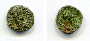obverse: Pseudo autonome (150-250). Lydia. Hermacapelia. AE (2,52 gr. – 15mm.). D.\: IEPA CVN - KΛHTOC, draped bust Roman Senate right. R.\: ΘEA PΩ EPM – OKAΠH[ΛITΩ], draped and turreted bust of Roma right. SNG von Aulock 2943. qBB. RR.