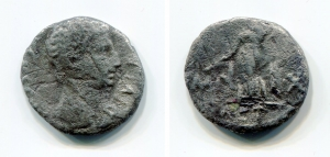 obverse: OCTAVIAN (38 a.C.),Roma. AE Sestertius (18,25 gr. – 32 mm.). D.\: DIVI F, head of Octavian right, a star in front; R.\: DIVOS IVLIVS, in laurel wreath. Contromarca al dritto? Cr-535/2; RPC 621. B/MB. R1.