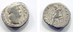 obverse: NERONE (54-68). AR Denarius (2,95 gr. - 18 mm.). R.\: IVPPITER CVSTOS. Giove seduto su trono a sinistra, mentre tiene uno scettro e una saetta. RIC 64. C. 119. MB. NC.