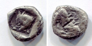 obverse: CARIA, Uncertain ( Mint D ). Circa 450-400 BC. AR Diobol (12.3mm - 2.05g). D.\: Confronted bull s heads; R.\: Head of bull left within incuse square. SNG Kayhan 967. MB. R.