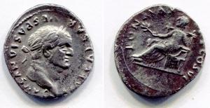obverse: VESPASIANO (68-79). AR Denarius (3,20 gr. – 19 mm.). R.\: PON MAX TR P COS VI. Pax seduta con ramo.C. 366. qBB.
