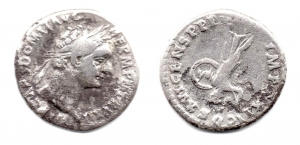 obverse: DOMIZIANO (81-96), Roma. AR Denarius (3,25 gr.). R.\: TR P COS VII DES VIII P P, Minerva con scudo e lancia. C.213. MB.