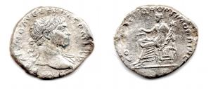 obverse: TRAIANO (98-117), Roma. Ar Denarius (3,60 gr.). R.\: COS V. RIC 116. qBB.