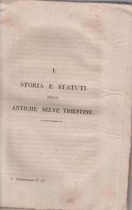 D/ Rossetti Domenico. Storia e statuti delle antiche Selve triestine. Trieste, 1831 Molto raro, Brossura muta pp. 148