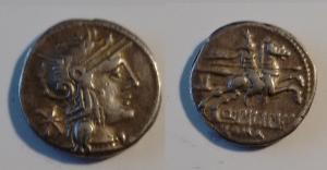 obverse: MARCIA. L. Marc. Philippus (113-112 a.C.) AR Denario 3.65 gr. D/ Testa elmata a destra. R/ Cavaliere a destra. Cr. 259/1 BB con cartellino di Stefano Palma