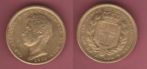obverse: Regno di Sardegna, Carlo Alberto. 100 Lire 1838 Torino gr. 23 ORO basso titolo (333 millesimi) (NON SI ACCETTANO RESI)