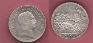 obverse: Regno d Italia, Vittorio Emanuele III. 5 Lire 1914 gr. 21 (NON SI ACCETTANO RESI)