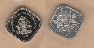obverse: BAHAMAS, 15 cents 1974 PROOF (NON SI ACCETTANO RESI)