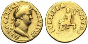 obverse: NERONE (54-68 d.C.), AV Aureo Roma 64-65 AD 7.06 gr. D/ NERO CAESAR - AVGVSTVS, testa laureata a destra. R/ IVPPITER - CVSTOS, Giove seduto a sinistra con scettro e fulmine. RIC 52. qBB ex Riccardo Paolucci, 1999