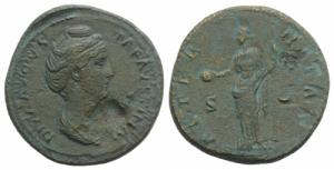 obverse: FAUSTINA I. (moglie di Antonino Pío). Asse Roma (141-161). D/ DIVA AVGVSTA FAVSTINA busto a destra. R/ AETERNITAS La Providenza stante a sinistra con globo e scettro. RIC 1163. BB