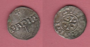 obverse: PAVIA, Enrico I (1014-1024) AR Denaro 1.18 gr. MIR 834 BB